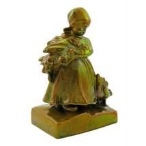 Antique Zsolnay Eosin Iridescent Girl Figurine with Goose - $583.76