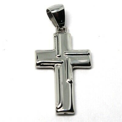 CROSS PENDANT GOLD GLOSSY WHITE 18K 750 STYLIZED MADE IN ITALY JEWEL
