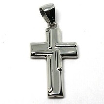 CROSS PENDANT GOLD GLOSSY WHITE 18K 750 STYLIZED MADE IN ITALY JEWEL image 1