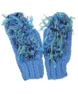 Funky blue hand knit mittens - $12.00