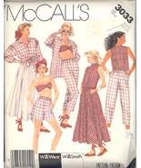 Uncut 1980s Size Small WilliWear Bra Top Skirt Shorts Pants McCalls 3033... - $6.99