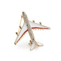 Women CHIC Rhinestone Fashion Airplane Model Collar Clip Brooch Pin Jewe... - $2.84