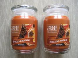 Lot Set of 2 Yankee Candle Spiced Orange 22 oz Large Jar Single Wick Can... - $50.00