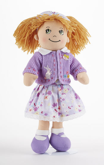 Strawberry Blonde Hair Apple Dumplin Doll, Purple Floral Dress, 14, Delton