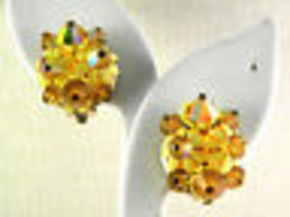 Yellow Crystals and Plastic Earrings vintage Jewelry - $13.49
