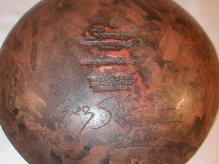 2005 Greg Shooner Redware Deep Pie Plate Sgraffito Decorated Primitive Tulips