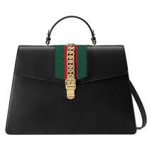 New Gucci Black Leather Sylvie Duffle Extra Large Top Handle Travel Shou... - $2,799.93