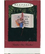 1995 Hallmark Keepsake Ornament Number One Teacher - Little Mouse Book Q... - $1.97