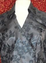 NINE & COMPANY gray polyester long sleeve faux wrap blouse 6 (T07-01I8G) image 2
