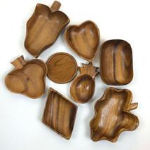 Vintage Wooden Decorative Modern Mid Century fruit trays Plates lot of 8 - $49.49