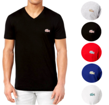 Lacoste Men's Premium Sport Cotton V-Neck Shirt T-Shirt Big Caviar Pique Croc