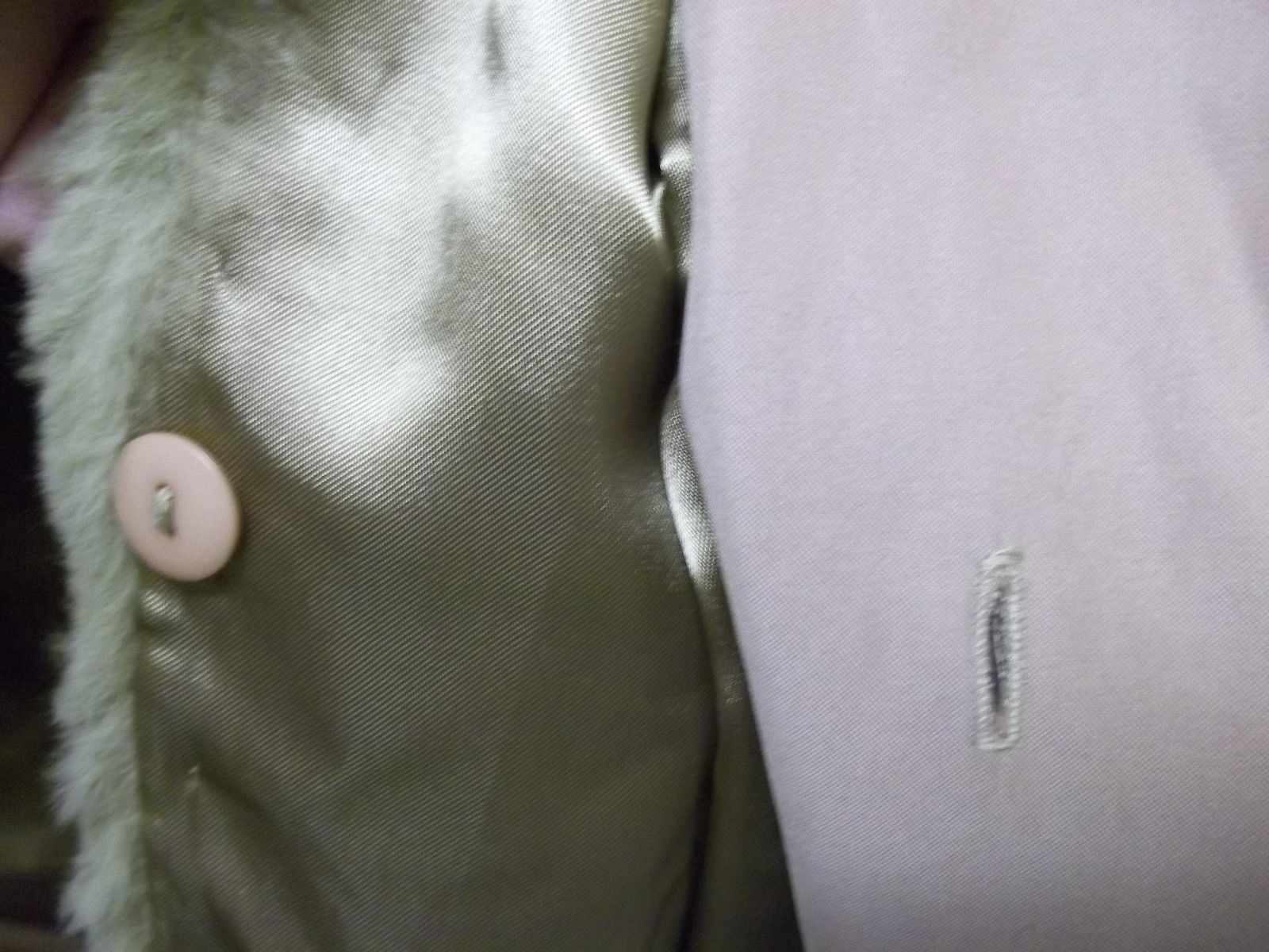 Vintage Tan Ultra Suede Women's Medium Trench Coat With Fur Lining & Collar Sz M image 2