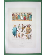 MEXICO Costume of Indians Natives - SUPERB Color Antiqe Print by A. Racinet - $16.87