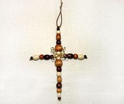 Inspirational Wooden Bead Cross Christmas Ornament - $5.98