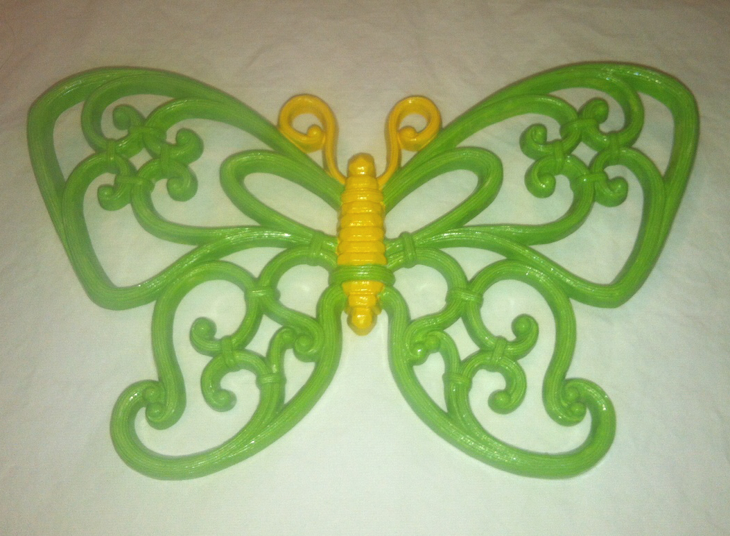Vintage homco green and yellow butterfly