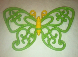 Vintage Homco Home Interiors butterfly 7537 wall hanging painted green &... - $2.00