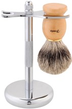 Fento Badger Hair Shaving Brush and Chrome Razo... - $19.86