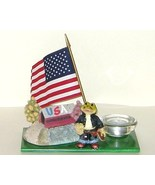 Western Cowboy Frog USA Bridge Flag Glass Candl... - $14.00
