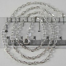 18K WHITE GOLD CHAIN MINI 2 MM ROLO OVAL MIRROR LINK 17.70 INCHES MADE IN ITALY image 1