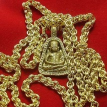 THAI BUDDHA AMULET 1973 LP NGERN PENDANT & GOLD PLATED NECKLACE LUCKY MONEY RICH image 2