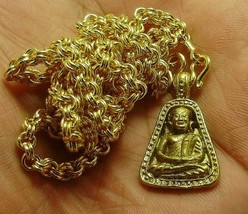 THAI BUDDHA AMULET 1973 LP NGERN PENDANT & GOLD PLATED NECKLACE LUCKY MONEY RICH image 3