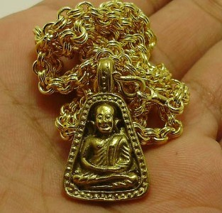 THAI BUDDHA AMULET 1973 LP NGERN PENDANT & GOLD PLATED NECKLACE LUCKY MONEY RICH image 4