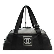 Auth Chanel Boston Bag Black Nylon Inner Pockets Logo Pouch Canvas Zippe... - $408.87