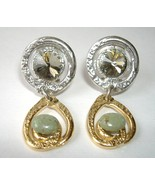 Swarovski Crystal Turquoise Earrings Gold Silver Unique Tear Drop Dangle... - $89.00