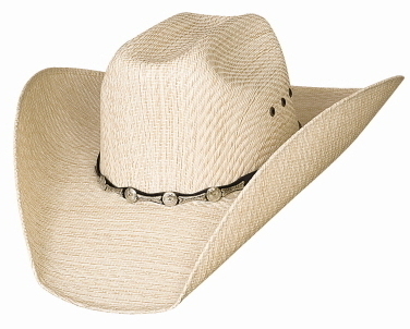 Bullhide Justin Moore Backwoods 50X Tuff Straw Cowboy Hat Silver Conchos Natural