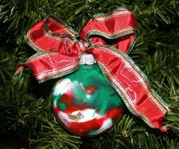 Handcrafted Painted Glass Ball Christmas Ornament in Red and Green - $9.98