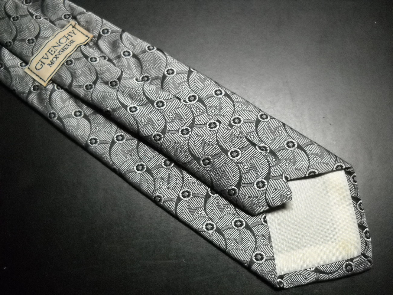 Givenchy Monsieur Neck Tie Silvers and Black