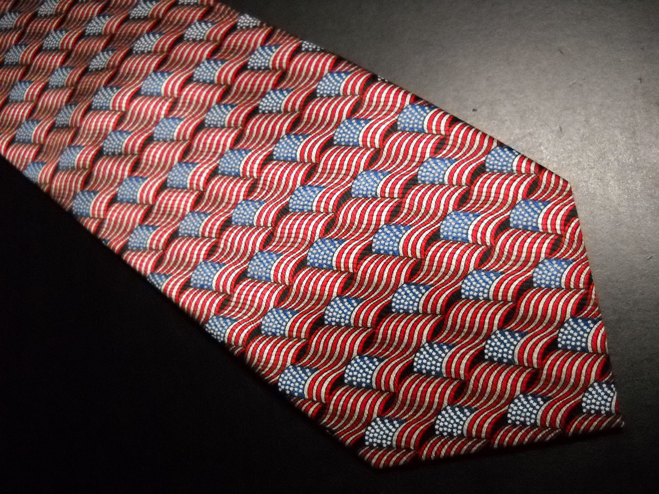 Stanley Blacker Neck Tie Repeating American Flags Red White and Blue Silk