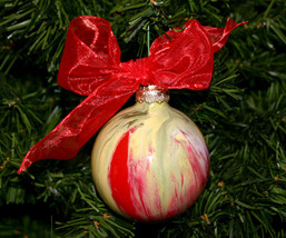 Handcrafted Painted Glass Ball Christmas Ornament in Red and Cream - $9.98