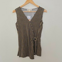 NEW Michael Kors S Small Sleeveless Faux Wrap Abstract Print Top $98 - $18.19