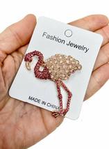 Pink Flamingo Brooch Pin Fake Rose Opal , Pink & AB Rhinestones Animal Jewelry - $13.78