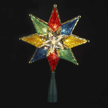 "Kurt Adler 8"" Multi Color 8 Point Star 10-LIGHT Treetop Tree Topper Xmas Decor - $14.88"