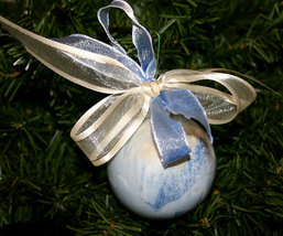 Handcrafted Painted Glass Ball Christmas Ornament in Blue and Cream - $9.98