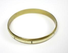 Vintage Slim Brass Metal Bovine Bone Fashion Costume Jewelry Bangle Brac... - $12.67