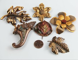 ESTATE VINTAGE Jewelry LOT OF 6 COPPER BROOCHES LEAF CORNUCOPIA FLOWER - $25.00