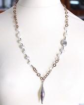 Collier Argent 925,Perles Style Baroque,Chaîne Rolo Rose Fait ,Pendentif Ovale image 1