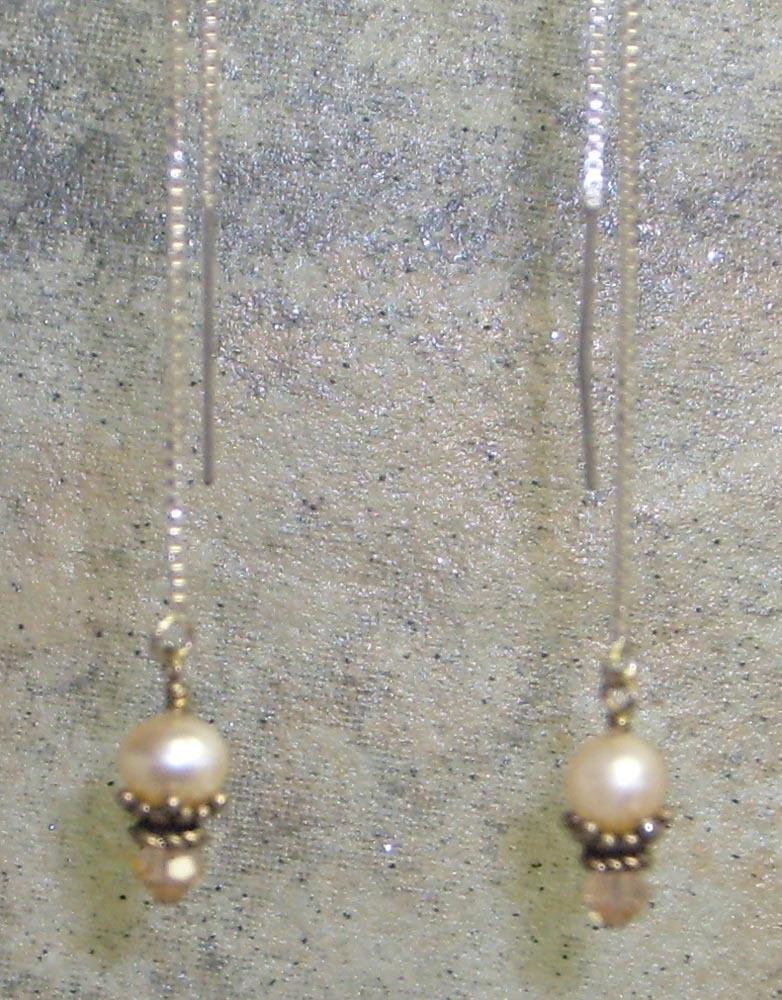 Peach Pearl ,Crystal & Sterling Silver Threader Earrings