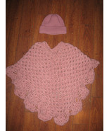 Kids Girls size  4-7+ Hat and Poncho Shaul Outwear Pink Knitted Warm Winter - $29.99