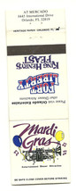 Mardi Gras Fort Liberty King Henry's Feast Orlando Matchbook Cover - $2.87