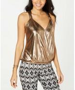 INC International Concepts WOMEN'S  Metallic Surplice Top BRONZE COLOR S... - $16.83