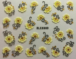 Nail Art 3D Decal Stickers Pale Yellow Flowers with Gold Embellishments ... - $3.09