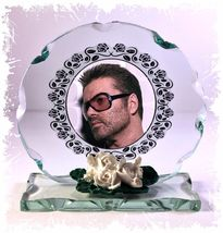 George Michael, Cut Glass Round Plaque.  Keepsake Limited Edition #4 - $39.00