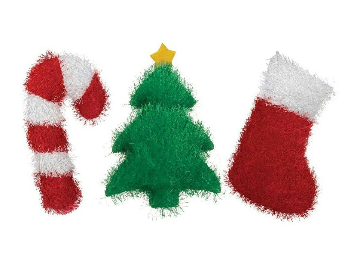 Holiday Fuzzles Dog Toy Christmas Theme Fuzzy Choose Stocking Tree or Candy Cane - $10.37