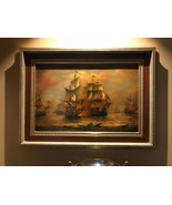 Wall Canvas Oil Painting With Crown Antique Gold Frame - Sailing Boat at... - $4,949.99