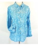 AVENUE Size 18W 20W Turquoise Print Cotton Voile Blouse Shirt - $18.99