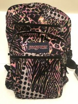 JansPort Large Backpack Colorful Animal Print Pink And Black Zebra Leopard - $19.80